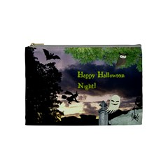Happy Halloween Night Witch Flying Cosmetic Bag (medium)  by canvasngiftshop