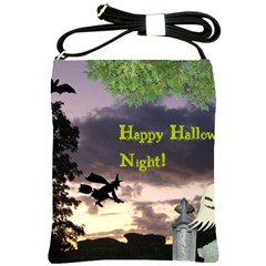 Happy Halloween Night Witch Flying Shoulder Sling Bags by canvasngiftshop