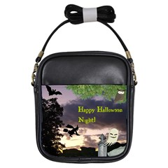 Happy Halloween Night Witch Flying Girls Sling Bags by canvasngiftshop