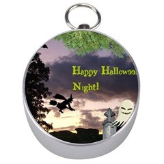 Happy Halloween Night Witch Flying Silver Compasses by canvasngiftshop