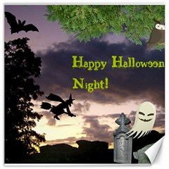 Happy Halloween Night Witch Flying Canvas 12  X 12   by canvasngiftshop