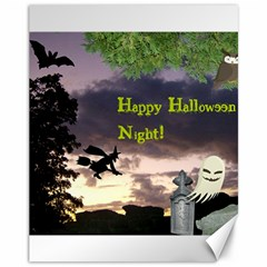 Happy Halloween Night Witch Flying Canvas 11  X 14   by canvasngiftshop
