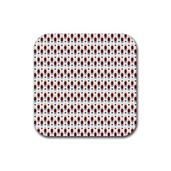 Geometric Retro Patterns Rubber Square Coaster (4 Pack)