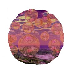Glorious Skies, Abstract Pink And Yellow Dream Standard 15  Premium Flano Round Cushions by DianeClancy
