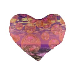Glorious Skies, Abstract Pink And Yellow Dream Standard 16  Premium Flano Heart Shape Cushions by DianeClancy