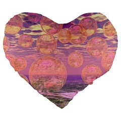 Glorious Skies, Abstract Pink And Yellow Dream Large 19  Premium Flano Heart Shape Cushions by DianeClancy