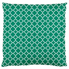 Emerald Green Quatrefoil Pattern Large Cushion Case (two Sides) by Zandiepants