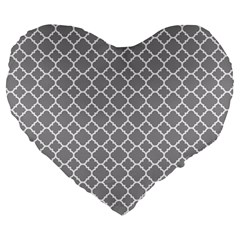 Grey Quatrefoil Pattern Large 19  Premium Heart Shape Cushion by Zandiepants