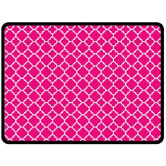 Hot Pink Quatrefoil Pattern Fleece Blanket (large) by Zandiepants