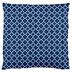 Navy Blue Quatrefoil Pattern Standard Flano Cushion Case (one Side) by Zandiepants