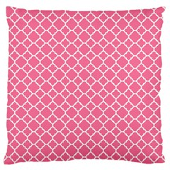 Soft Pink Quatrefoil Pattern Large Flano Cushion Case (one Side) by Zandiepants