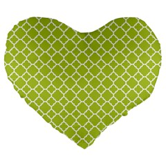 Spring Green Quatrefoil Pattern Large 19  Premium Flano Heart Shape Cushion by Zandiepants