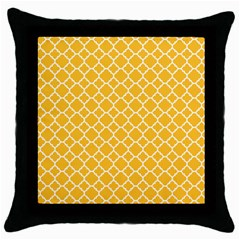 Sunny Yellow Quatrefoil Pattern Throw Pillow Case (black) by Zandiepants
