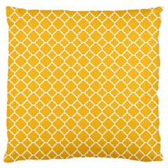 Sunny Yellow Quatrefoil Pattern Large Flano Cushion Case (two Sides) by Zandiepants