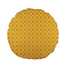 Sunny Yellow Quatrefoil Pattern Standard 15  Premium Flano Round Cushion  by Zandiepants