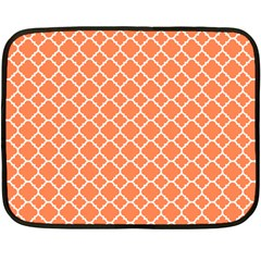 Tangerine Orange Quatrefoil Pattern Double Sided Fleece Blanket (mini) by Zandiepants