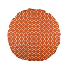Tangerine Orange Quatrefoil Pattern Standard 15  Premium Flano Round Cushion  by Zandiepants