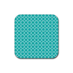 Turquoise Quatrefoil Pattern Rubber Square Coaster (4 Pack) by Zandiepants