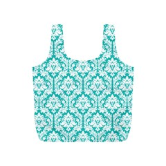 Turquoise Damask Pattern Full Print Recycle Bags (s)  by Zandiepants