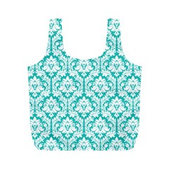 Turquoise Damask Pattern Full Print Recycle Bags (m)  by Zandiepants