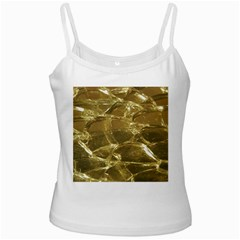 Gold Bar Golden Chic Festive Sparkling Gold  White Spaghetti Tank by yoursparklingshop
