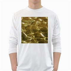 Gold Bar Golden Chic Festive Sparkling Gold  White Long Sleeve T Shirts by yoursparklingshop