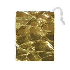 Gold Bar Golden Chic Festive Sparkling Gold  Drawstring Pouches (large)  by yoursparklingshop
