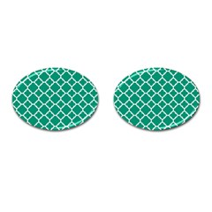 Emerald Green Quatrefoil Pattern Cufflinks (oval) by Zandiepants