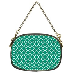 Emerald Green Quatrefoil Pattern Chain Purse (two Sides) by Zandiepants