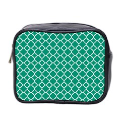 Emerald Green Quatrefoil Pattern Mini Toiletries Bag (two Sides) by Zandiepants
