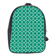 Emerald Green Quatrefoil Pattern School Bag (xl) by Zandiepants