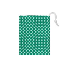Emerald Green Quatrefoil Pattern Drawstring Pouch (small) by Zandiepants