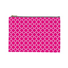 Hot Pink Quatrefoil Pattern Cosmetic Bag (large) by Zandiepants