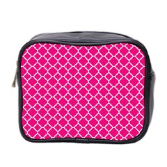 Hot Pink Quatrefoil Pattern Mini Toiletries Bag (two Sides) by Zandiepants