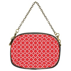 Poppy Red Quatrefoil Pattern Chain Purse (two Sides) by Zandiepants