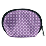 Lilac purple quatrefoil pattern Accessory Pouch (Medium) Back