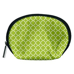 Spring Green Quatrefoil Pattern Accessory Pouch (medium) by Zandiepants