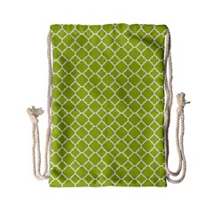 Spring Green Quatrefoil Pattern Drawstring Bag (small) by Zandiepants