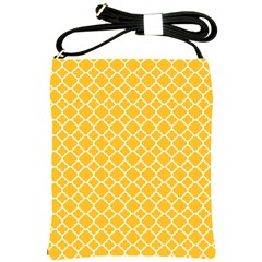 Sunny Yellow Quatrefoil Pattern Shoulder Sling Bag by Zandiepants