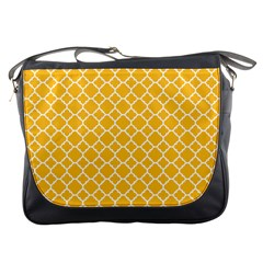 Sunny Yellow Quatrefoil Pattern Messenger Bag by Zandiepants