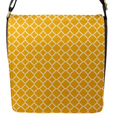 Sunny Yellow Quatrefoil Pattern Flap Closure Messenger Bag (s) by Zandiepants