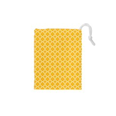 Sunny Yellow Quatrefoil Pattern Drawstring Pouch (xs)