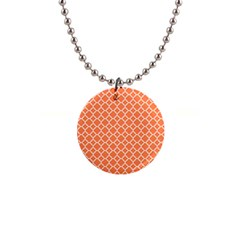 Tangerine Orange Quatrefoil Pattern 1  Button Necklace by Zandiepants