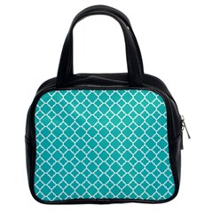 Turquoise Quatrefoil Pattern Classic Handbag (two Sides) by Zandiepants