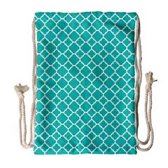 Turquoise Quatrefoil Pattern Drawstring Bag (large) by Zandiepants