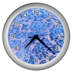 Festive Chic Light Blue Glitter Shiny Glamour Sparkles Wall Clocks (silver)  by yoursparklingshop