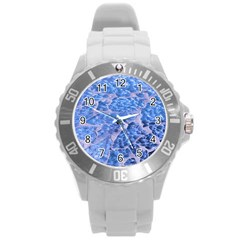 Festive Chic Light Blue Glitter Shiny Glamour Sparkles Round Plastic Sport Watch (l) by yoursparklingshop