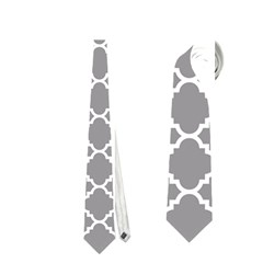 Grey Quatrefoil Pattern Necktie (two Side)