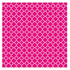 Hot Pink Quatrefoil Pattern Large Satin Scarf (square) by Zandiepants