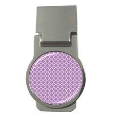 Lilac Purple Quatrefoil Pattern Money Clip (round) by Zandiepants